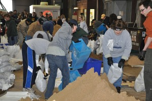 Volunteers Filling Sandbags in Fargo, ND